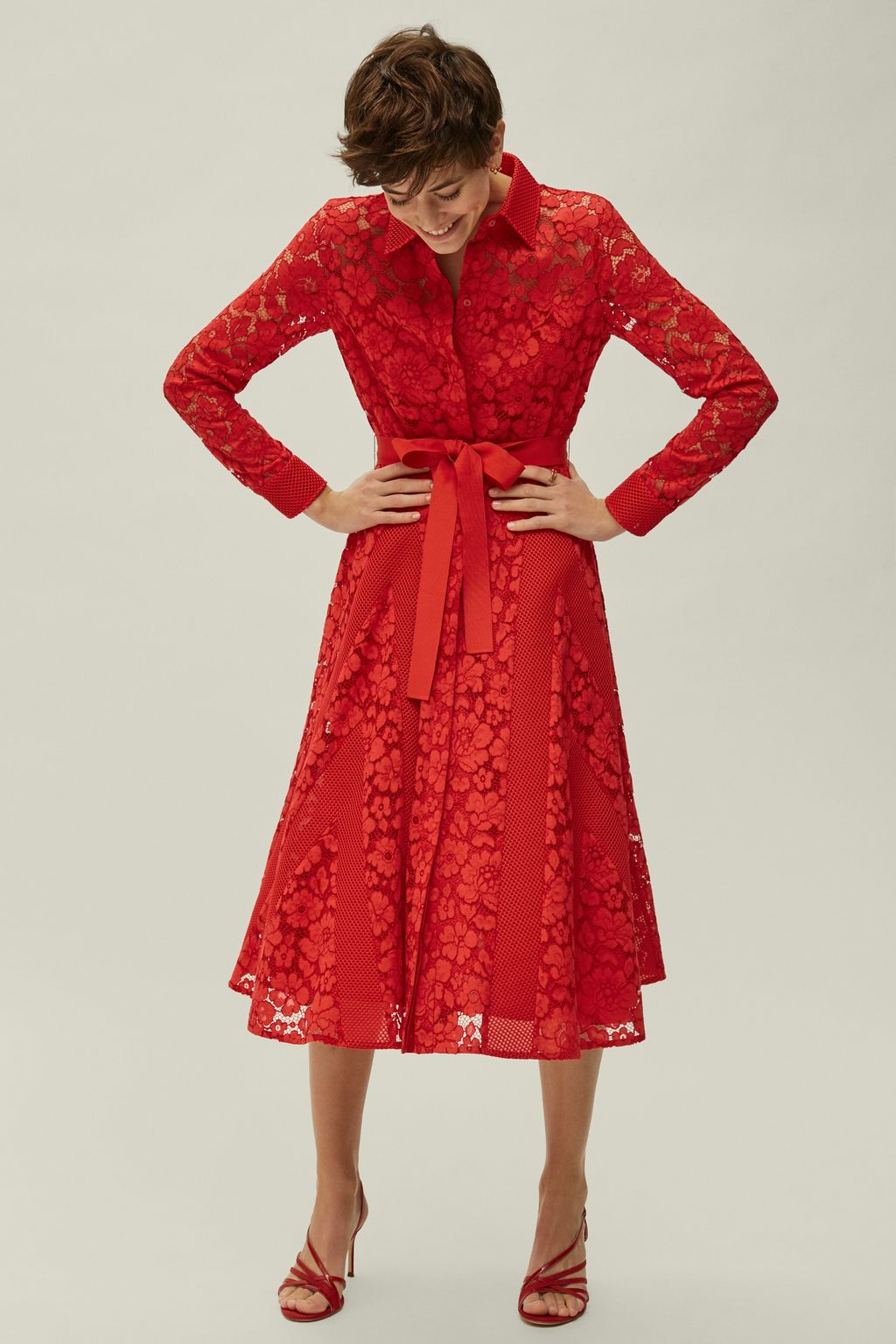 Lace and neoprene mesh shirt dress