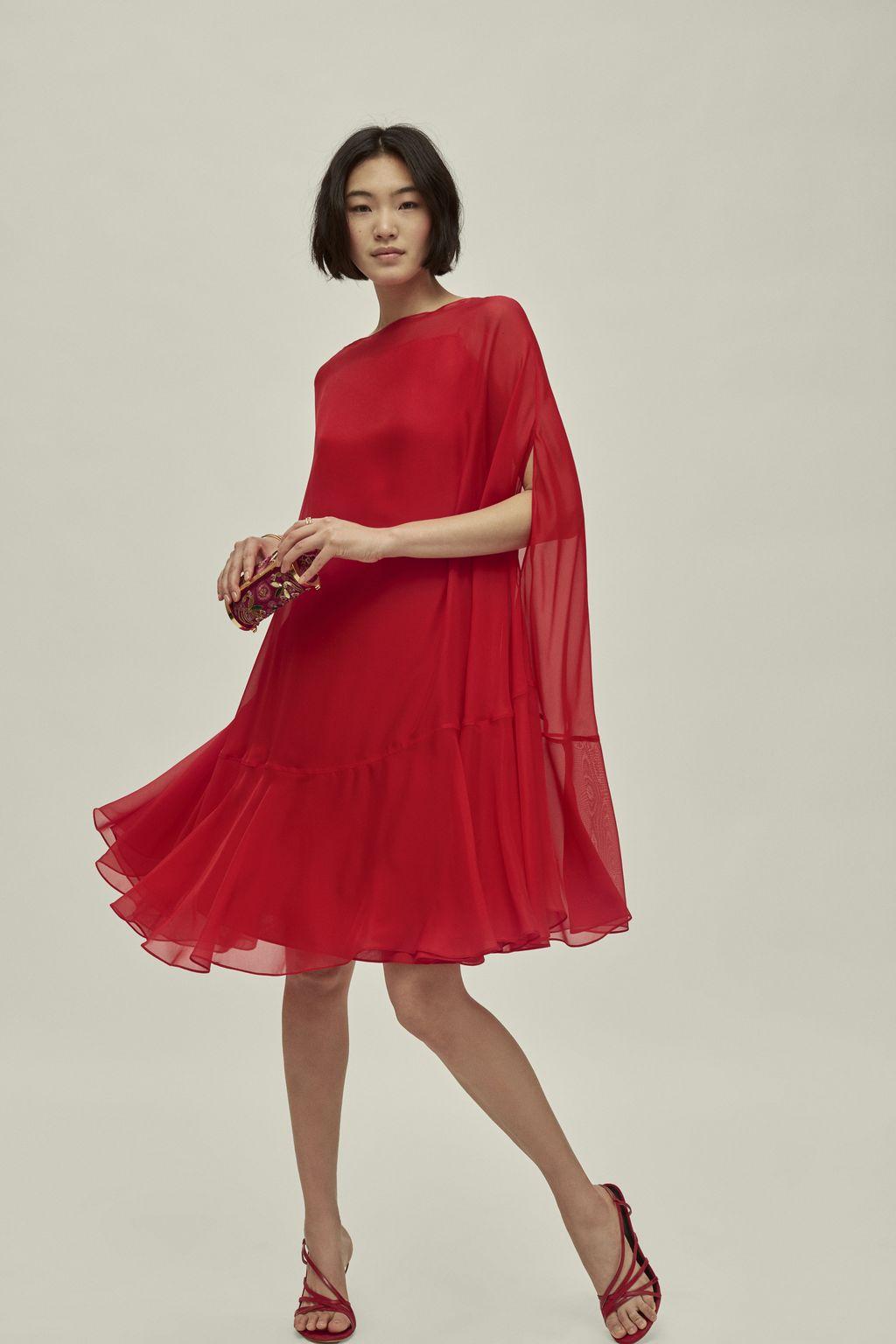 Silk cape dress