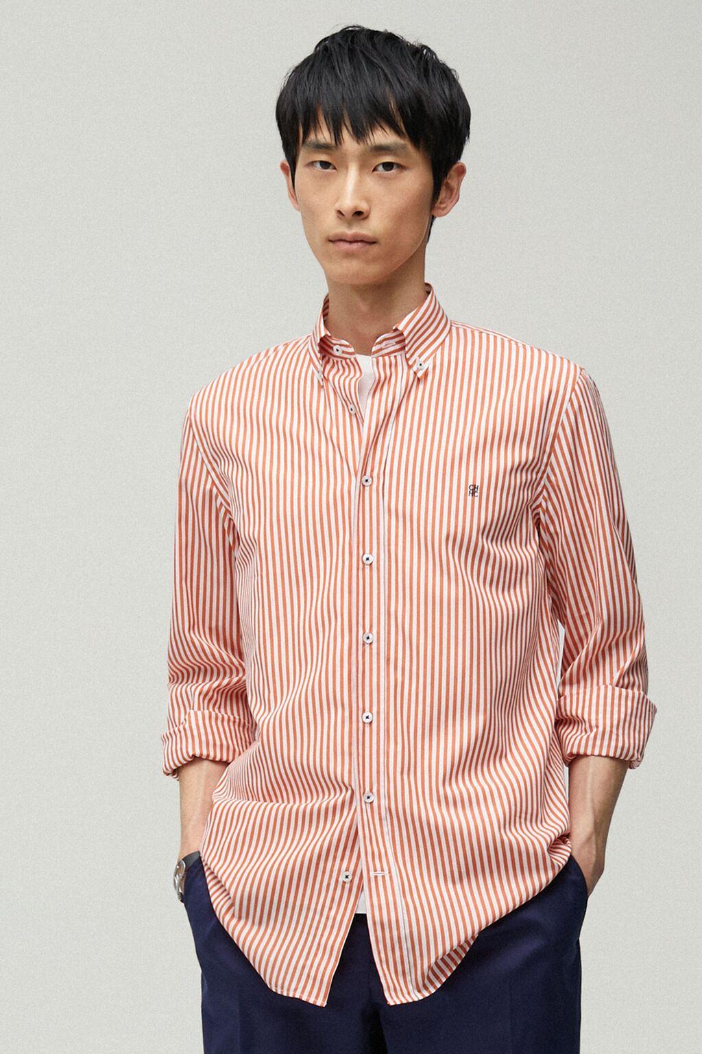 Bengal striped poplin shirt