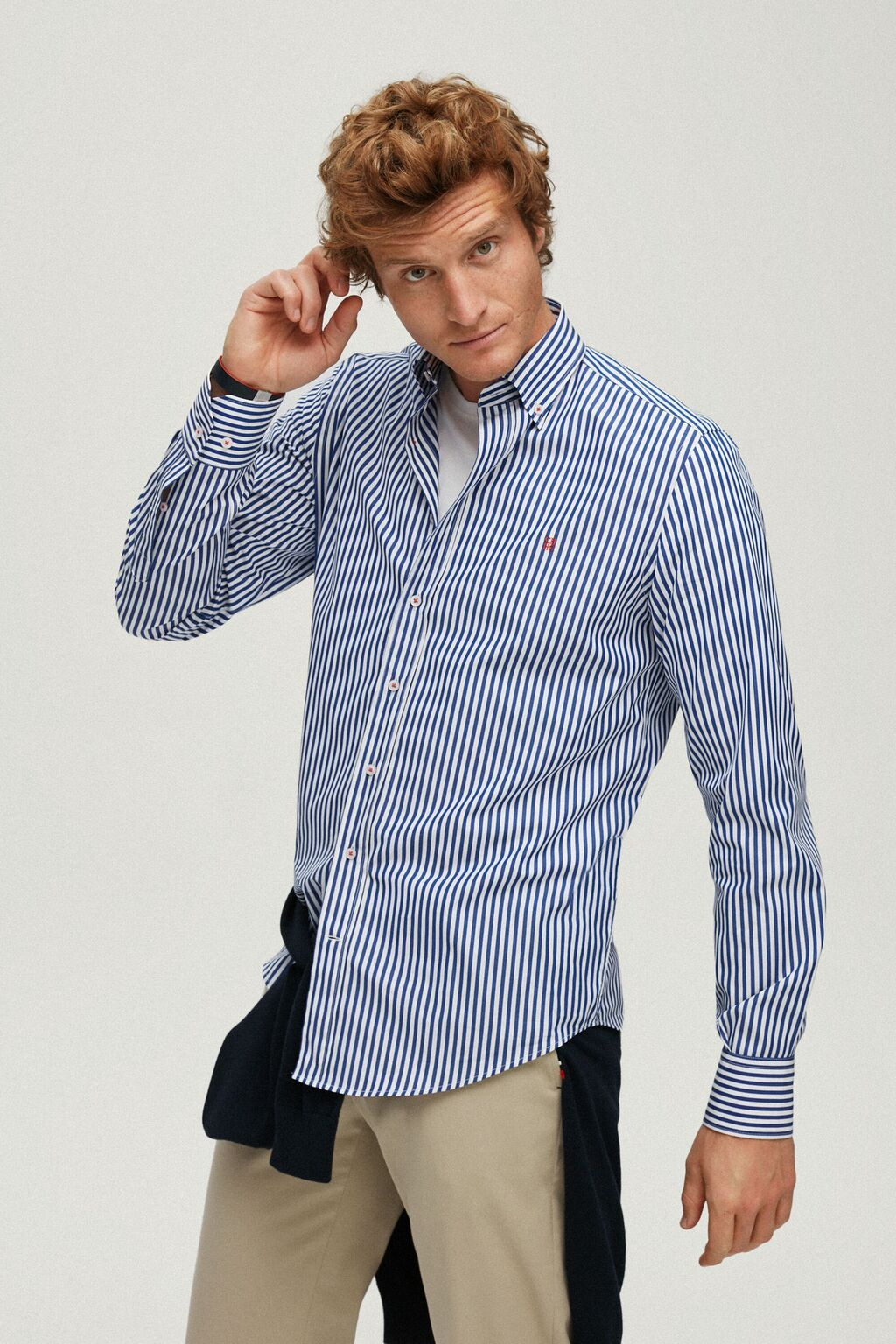Bengal striped poplin shirt