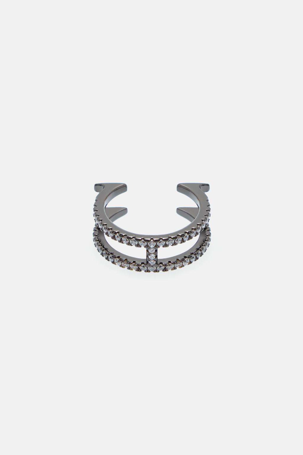 Thin Crystal Insignia ring