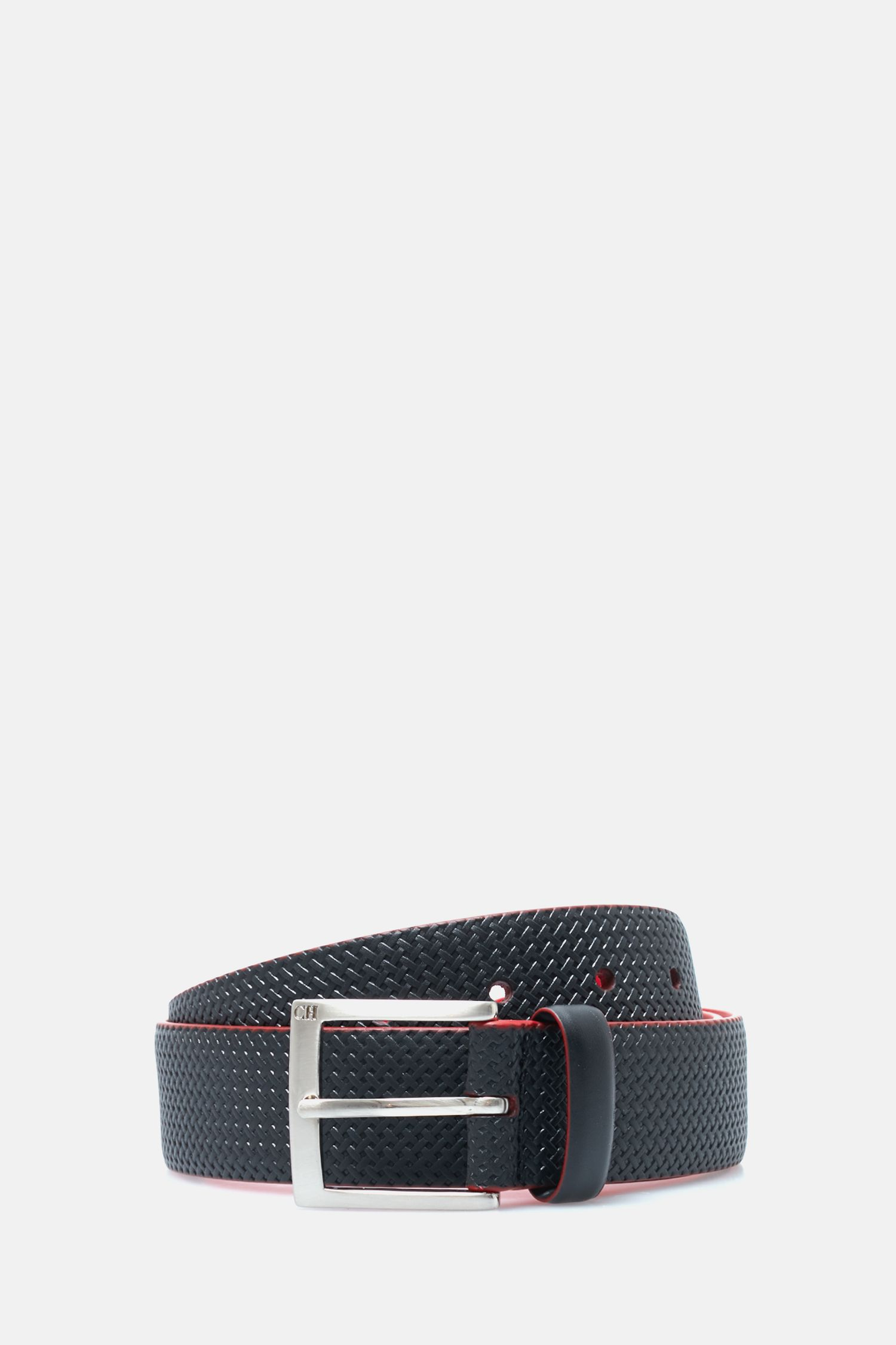 Woven-effect leather belt