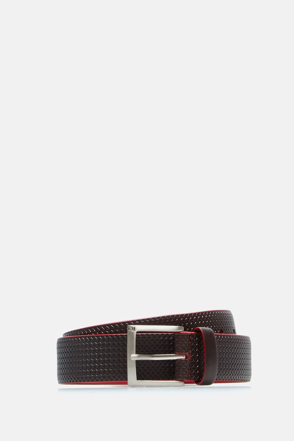 Woven-effect leather belt