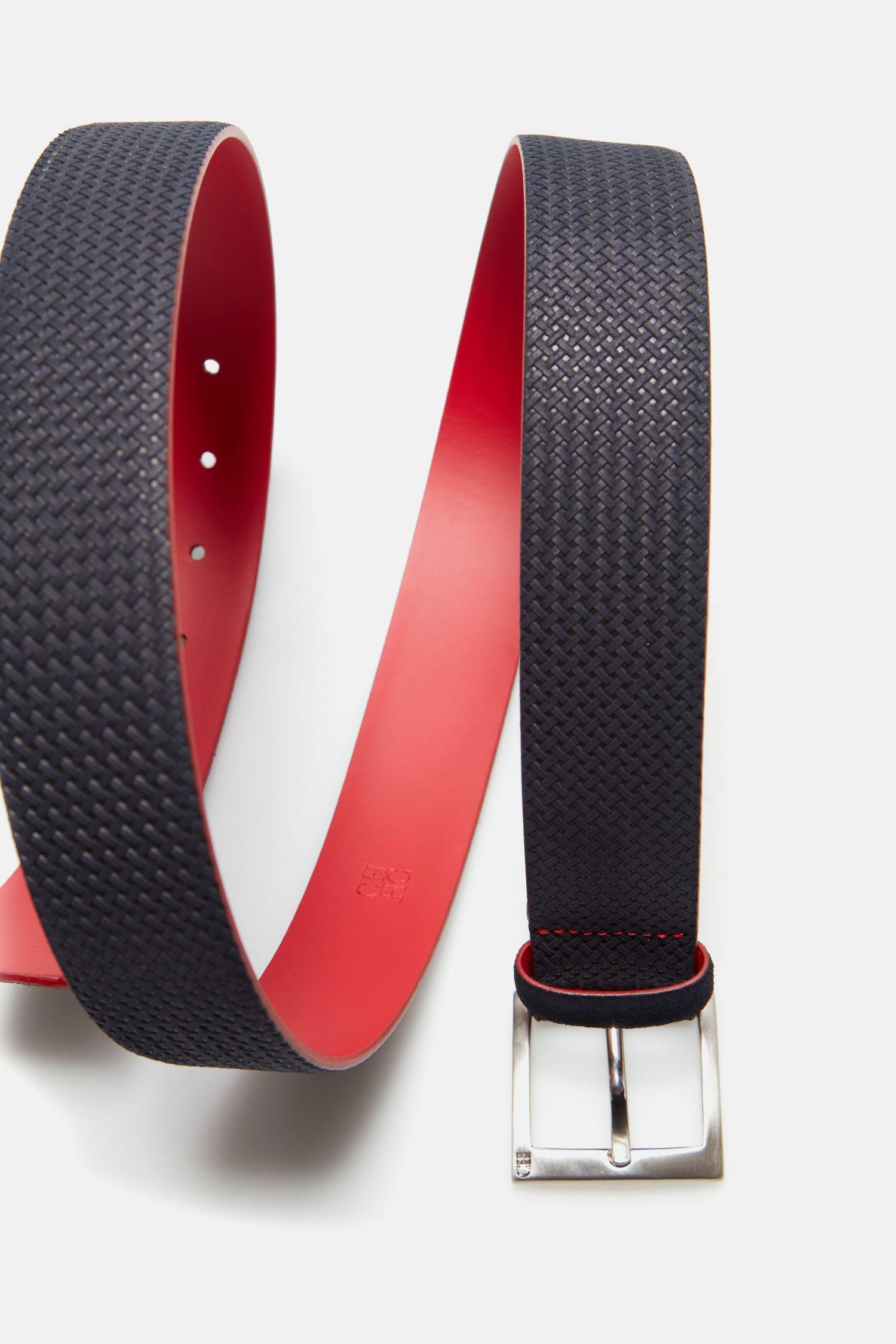 Braided-effect suede belt