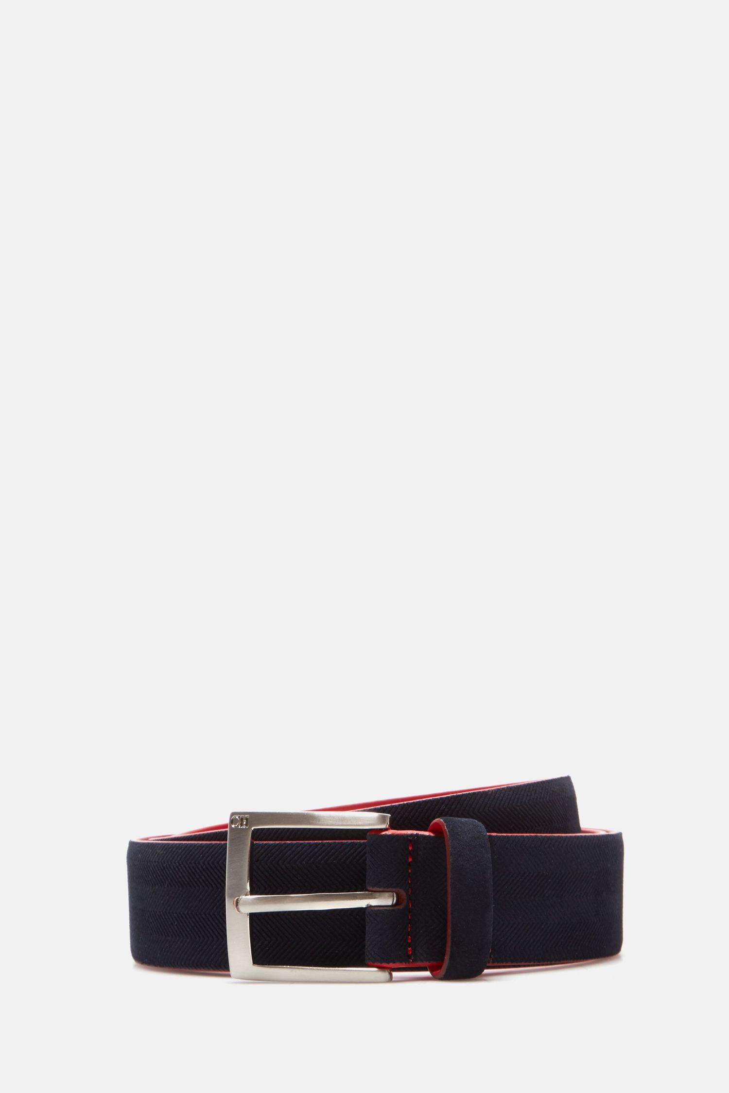 Embossed suede belt