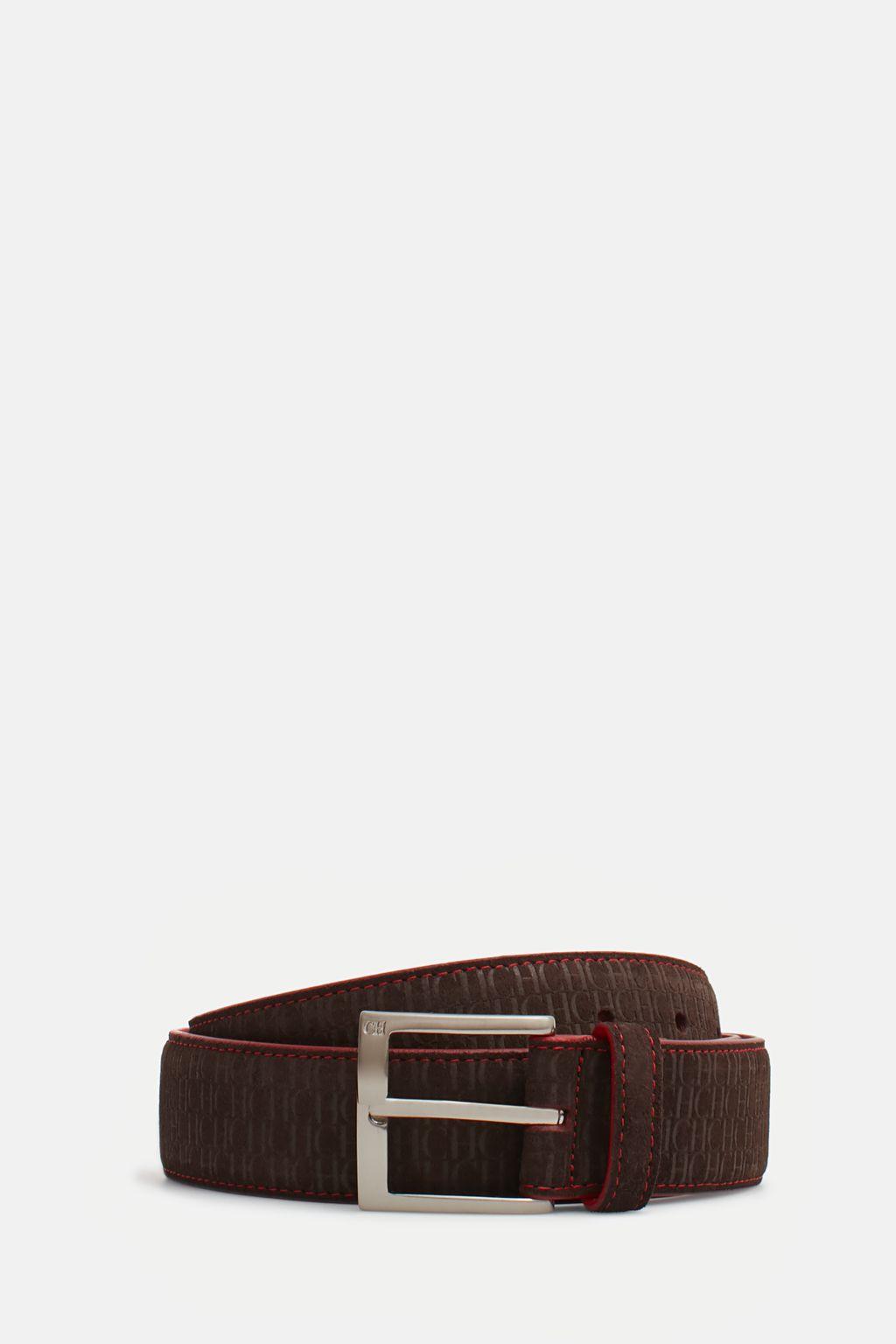 Suede belt with CH pattern