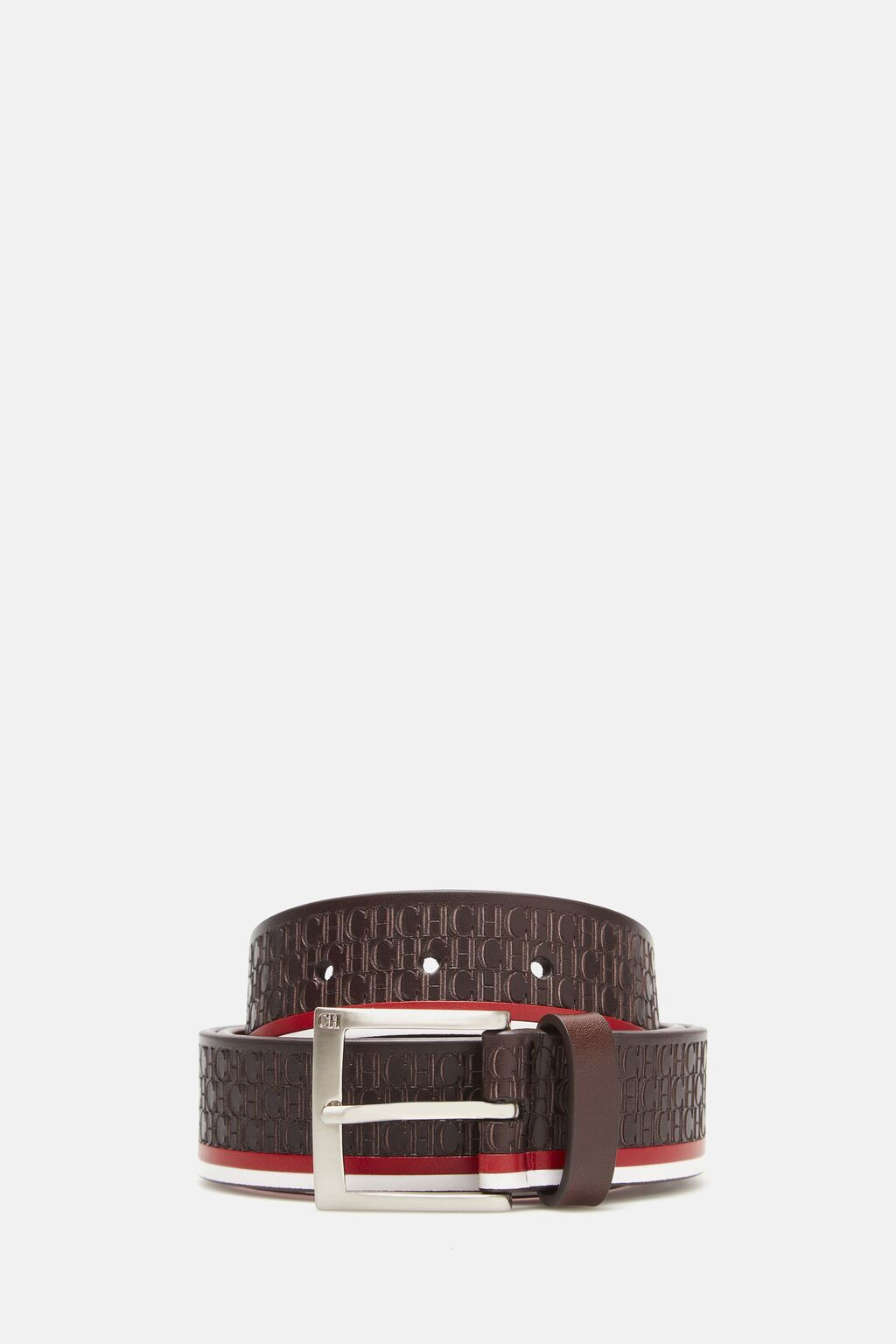 Leather belt with CH pattern