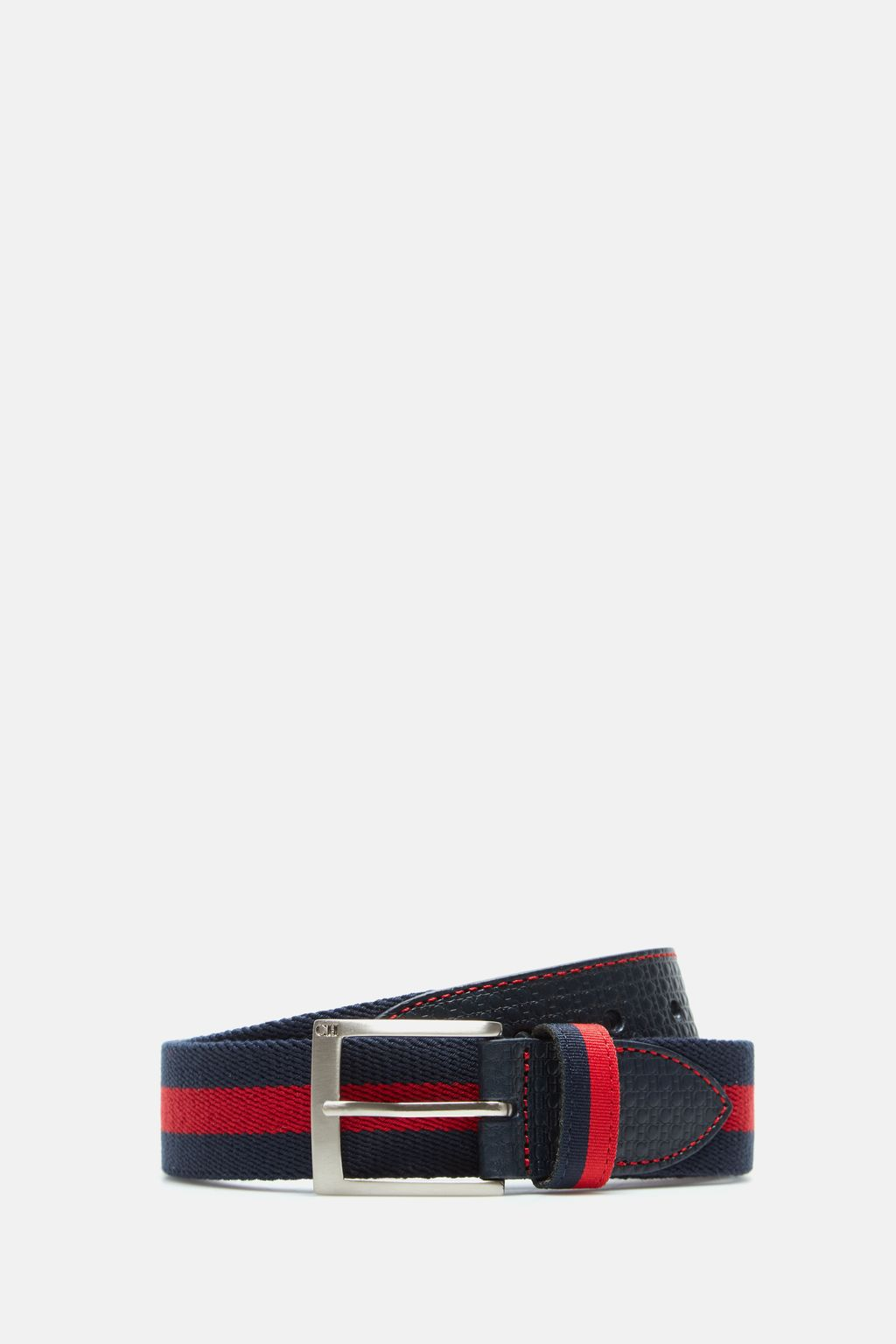 Leather and jacquard belt