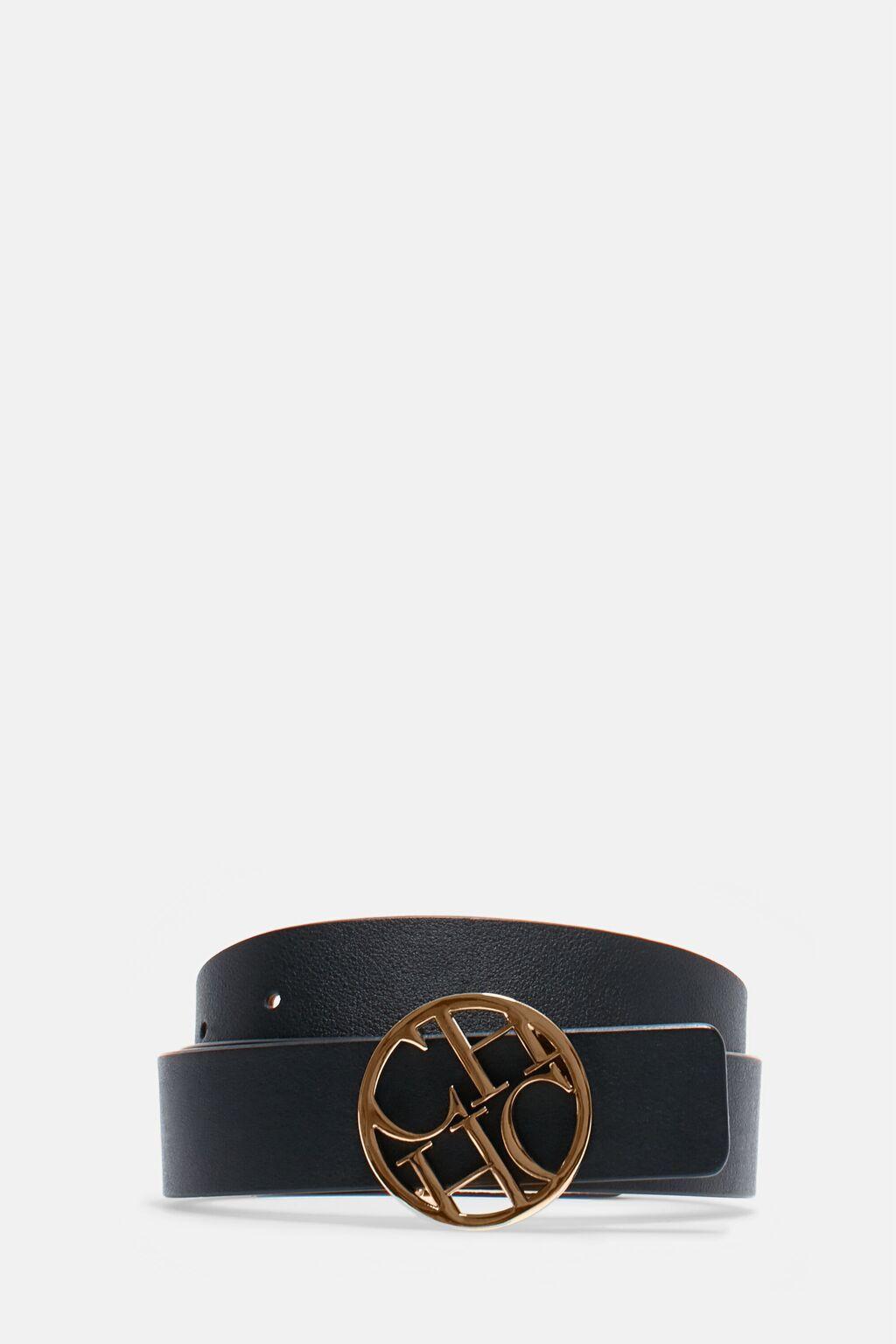 CH medallion leather belt