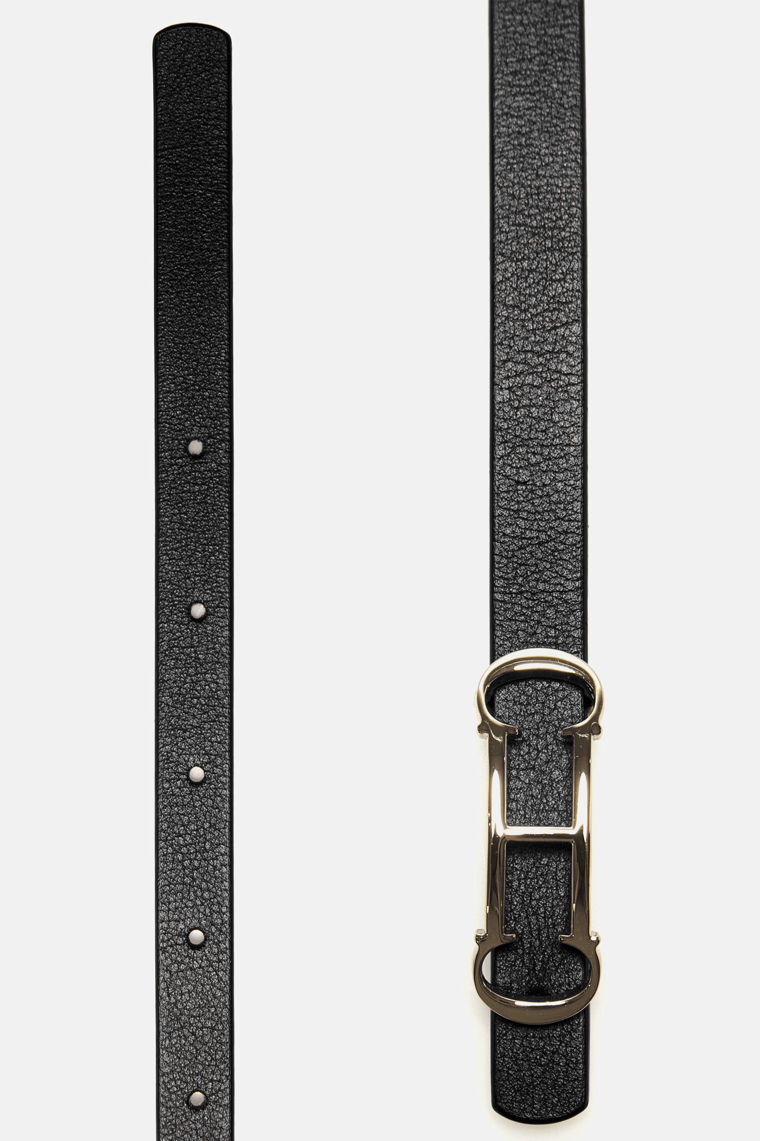 Insignia skinny leather belt