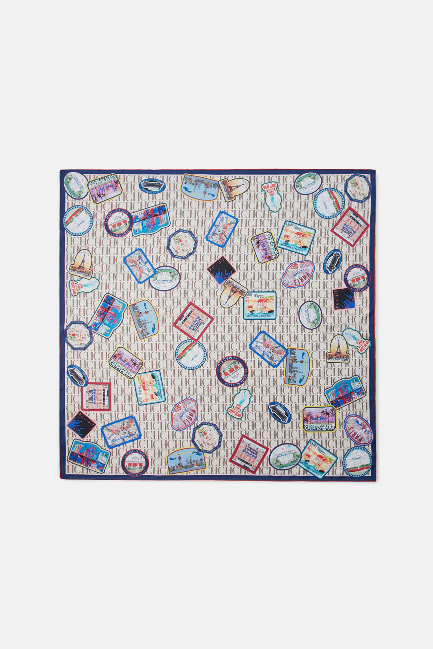 CH City Patches silk scarf