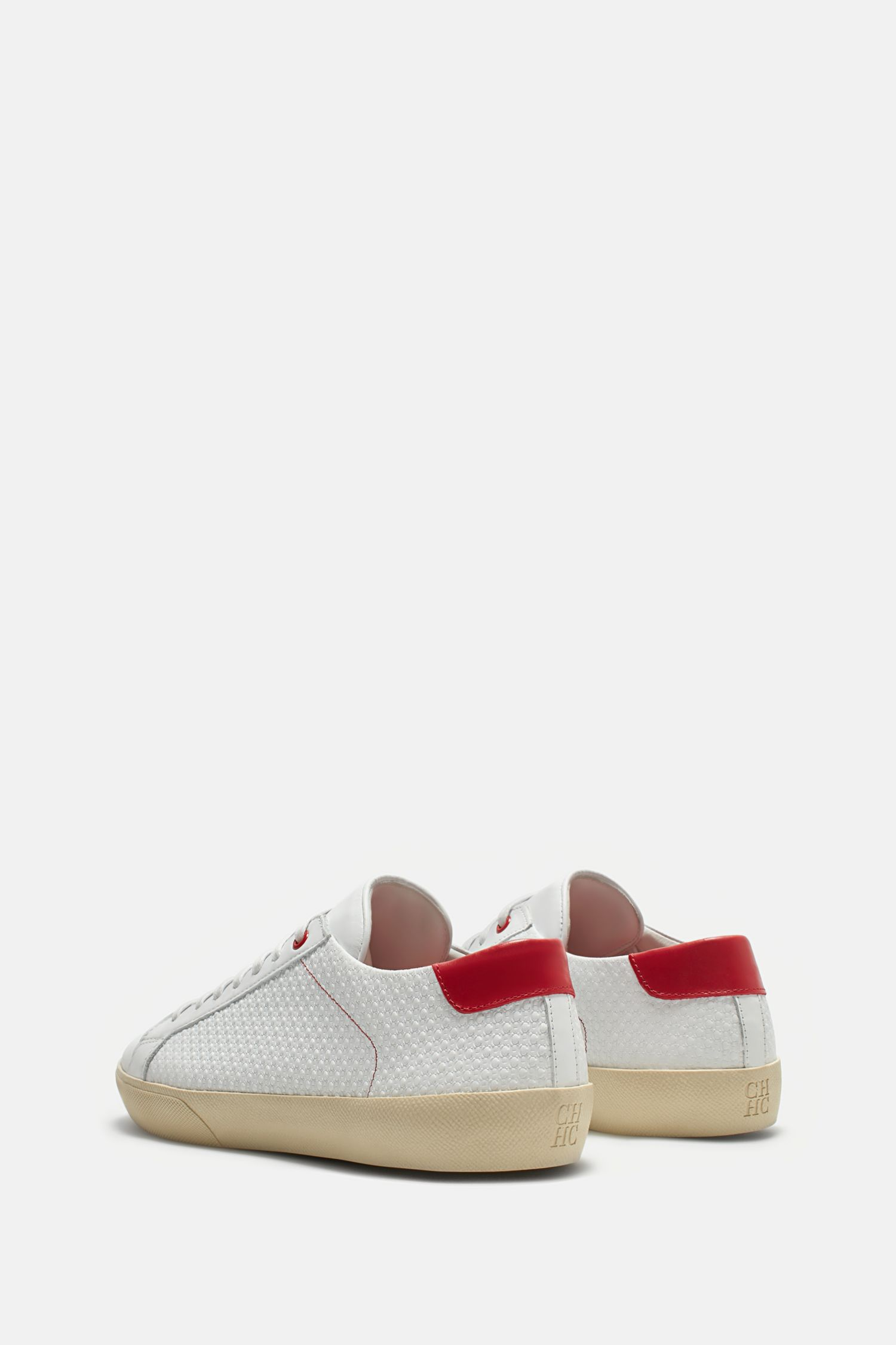 CH embossed leather sneakers