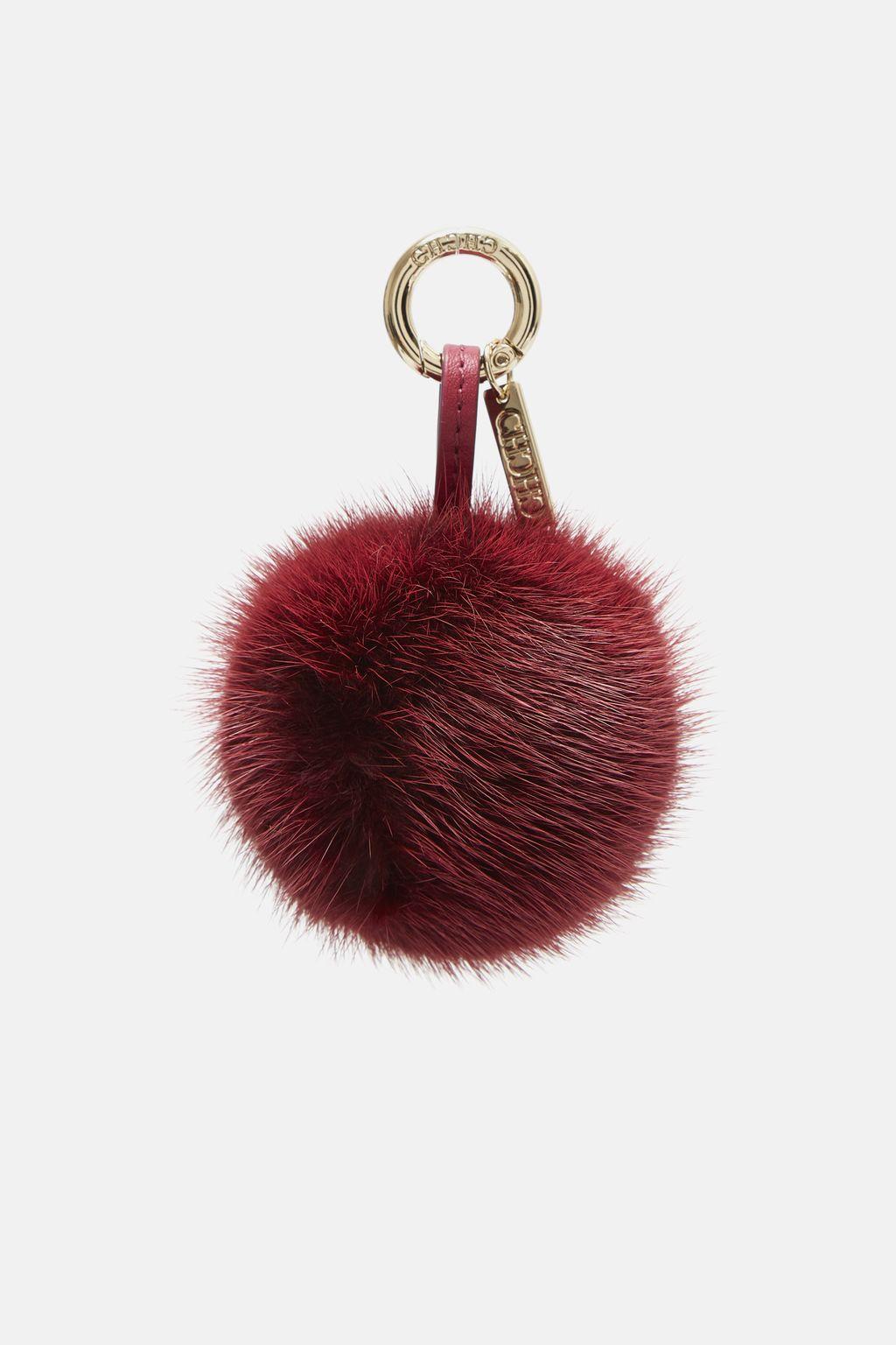 Lipstick pompom bag charm