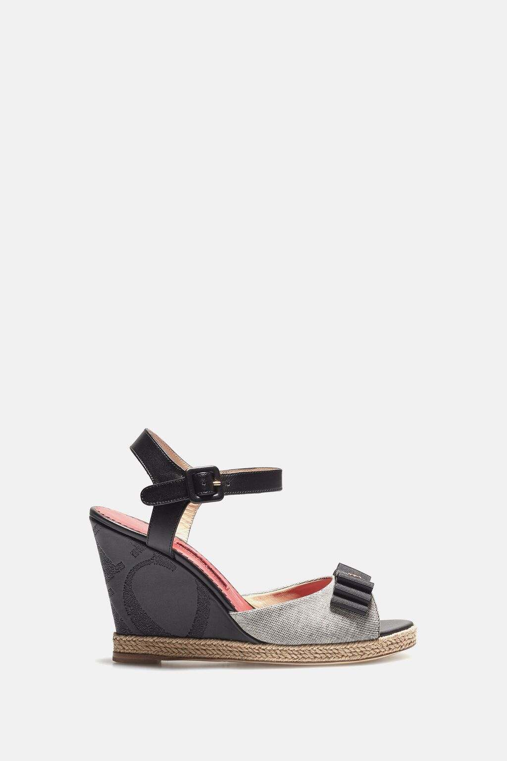 Leather and canvas wedges with bow