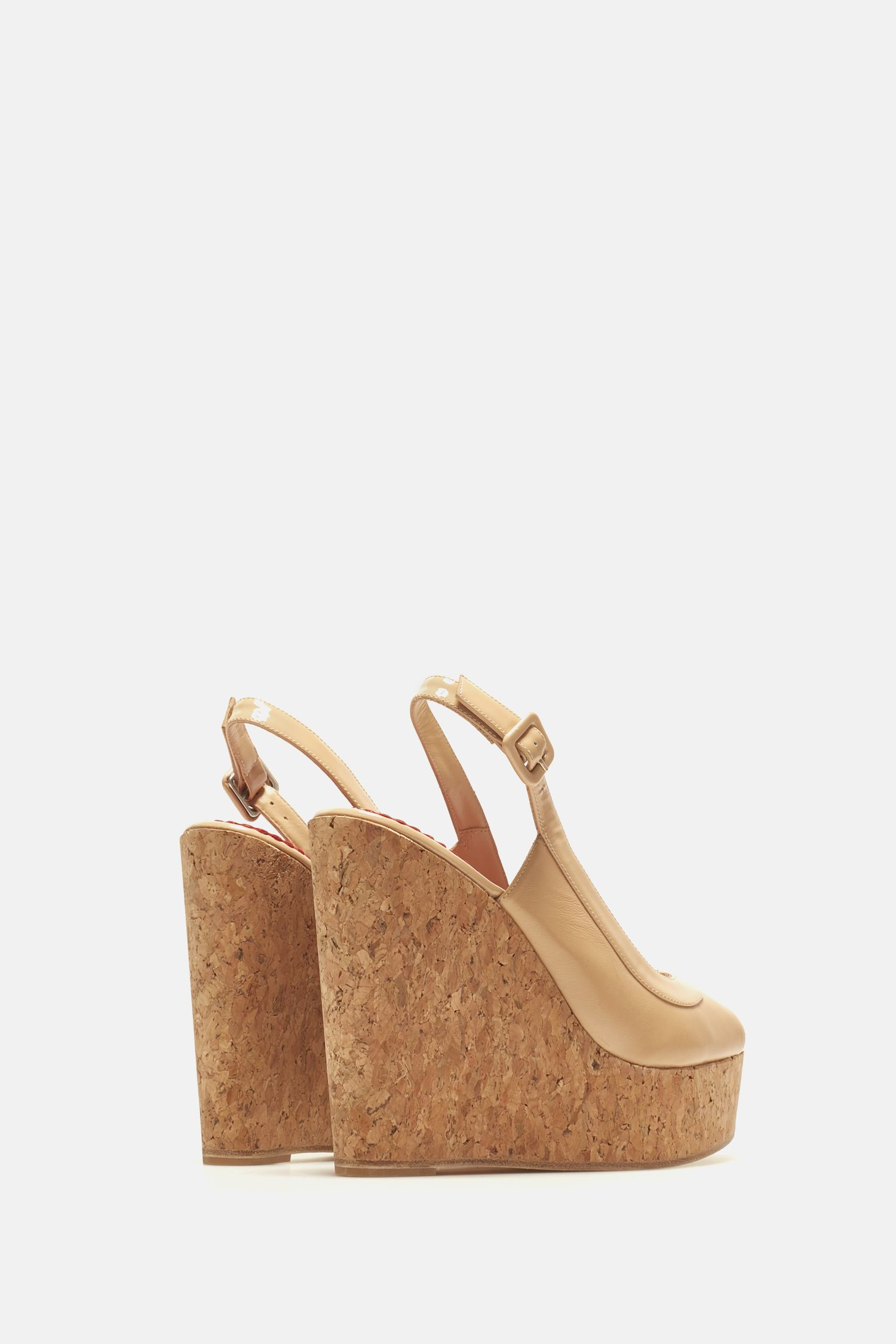 Napa and patent leather wedges