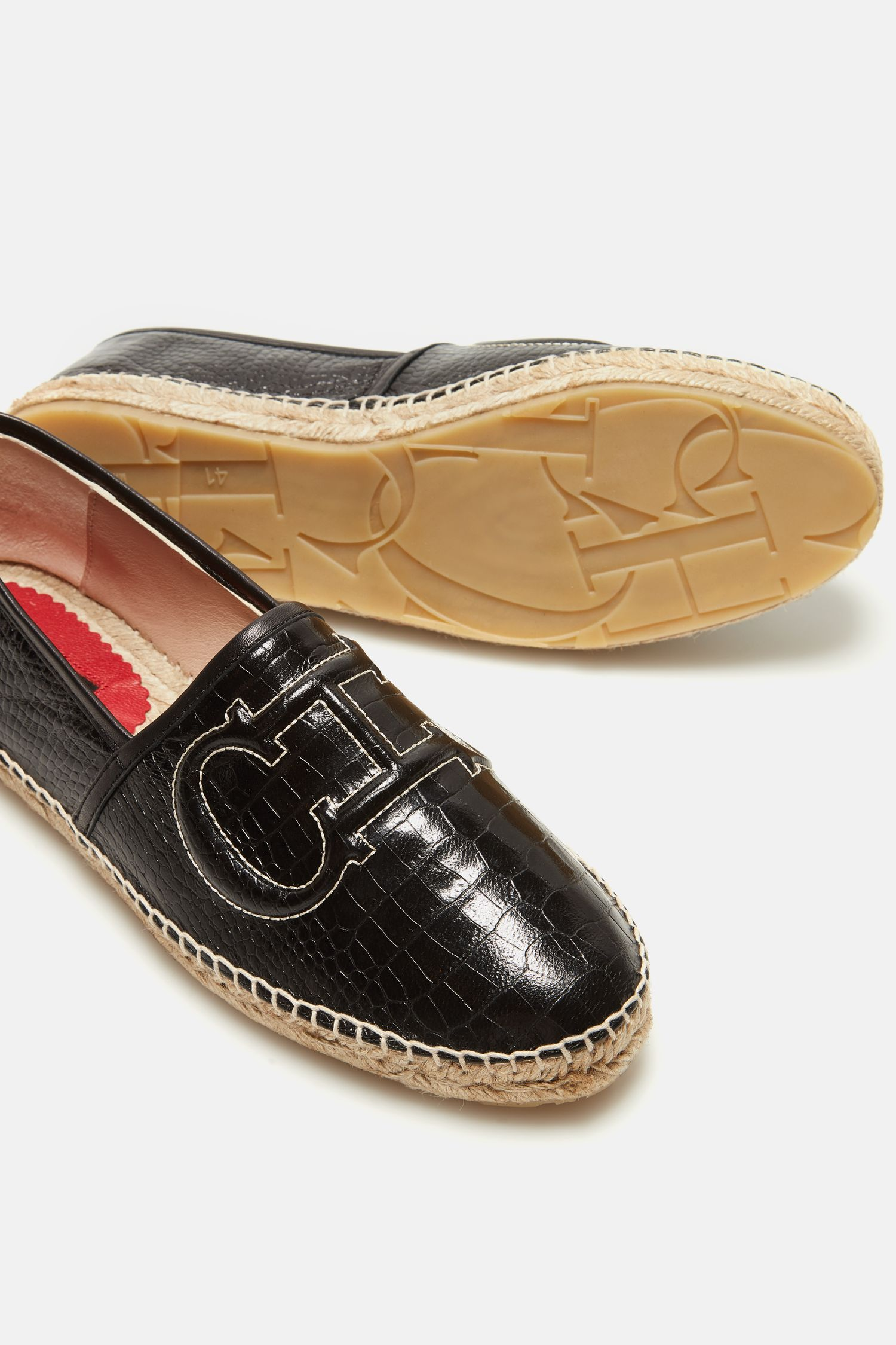 Initials Insignia croc-effect leather espadrilles
