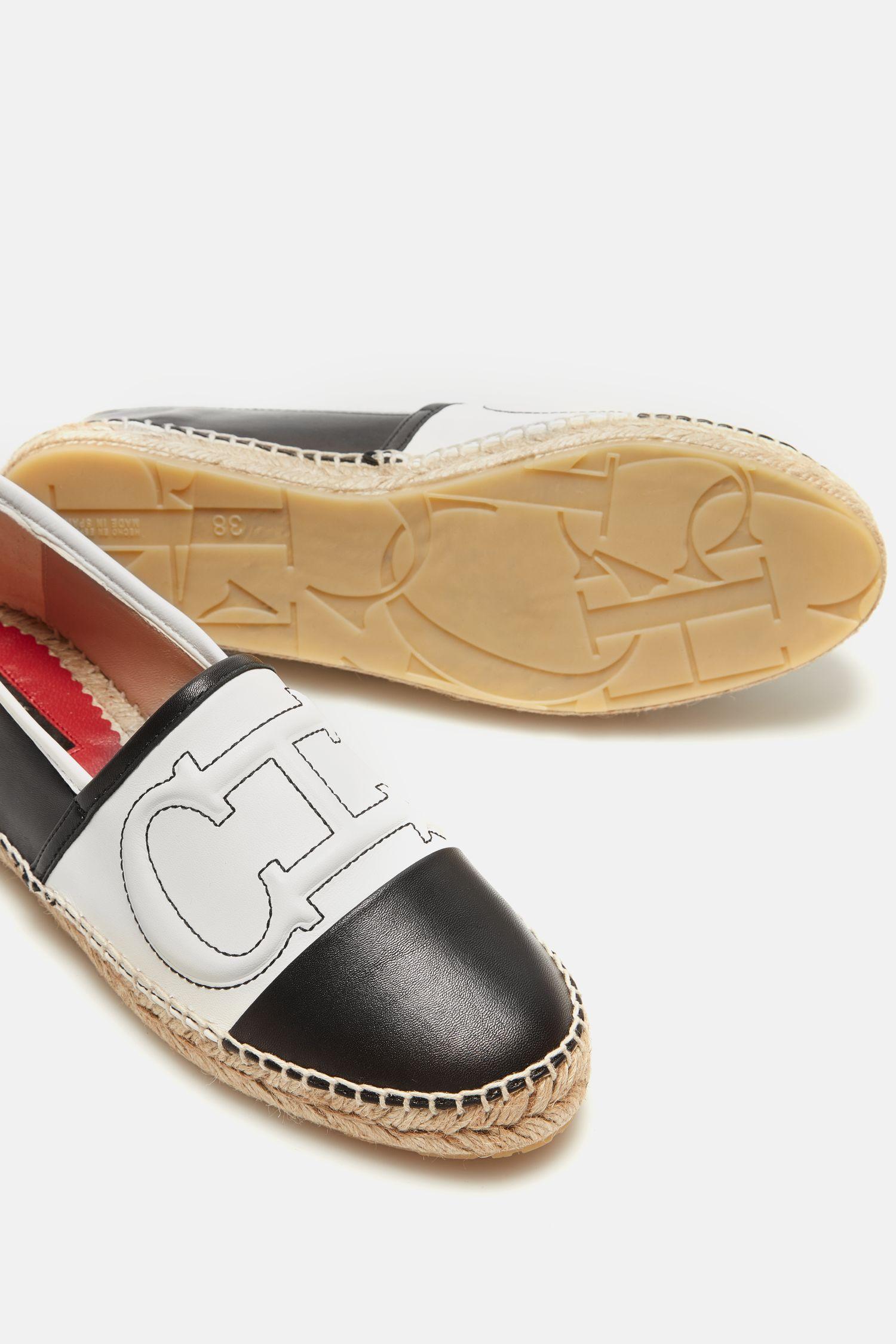 Initials Insignia leather espadrilles