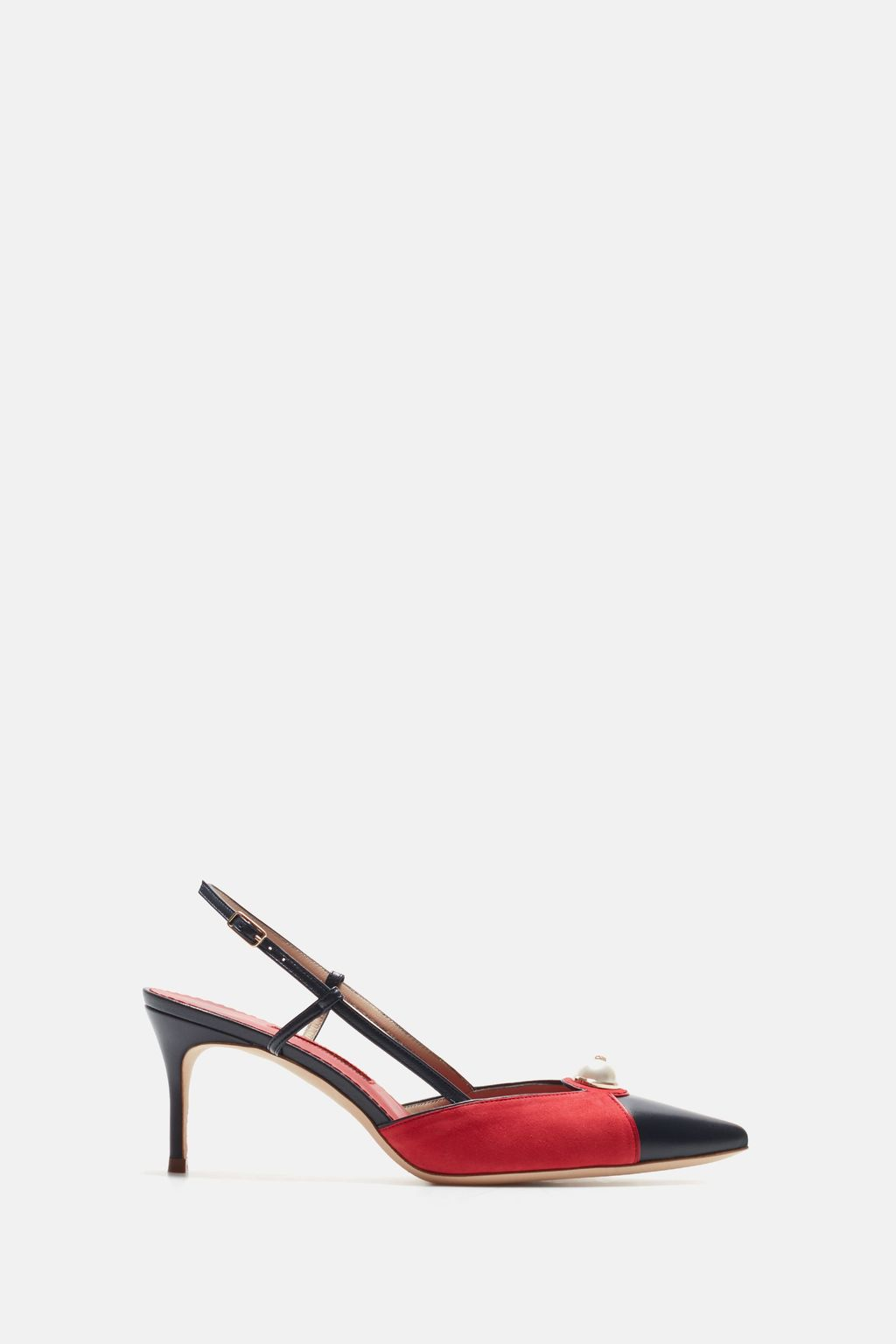 Suede slingback pumps with pearl