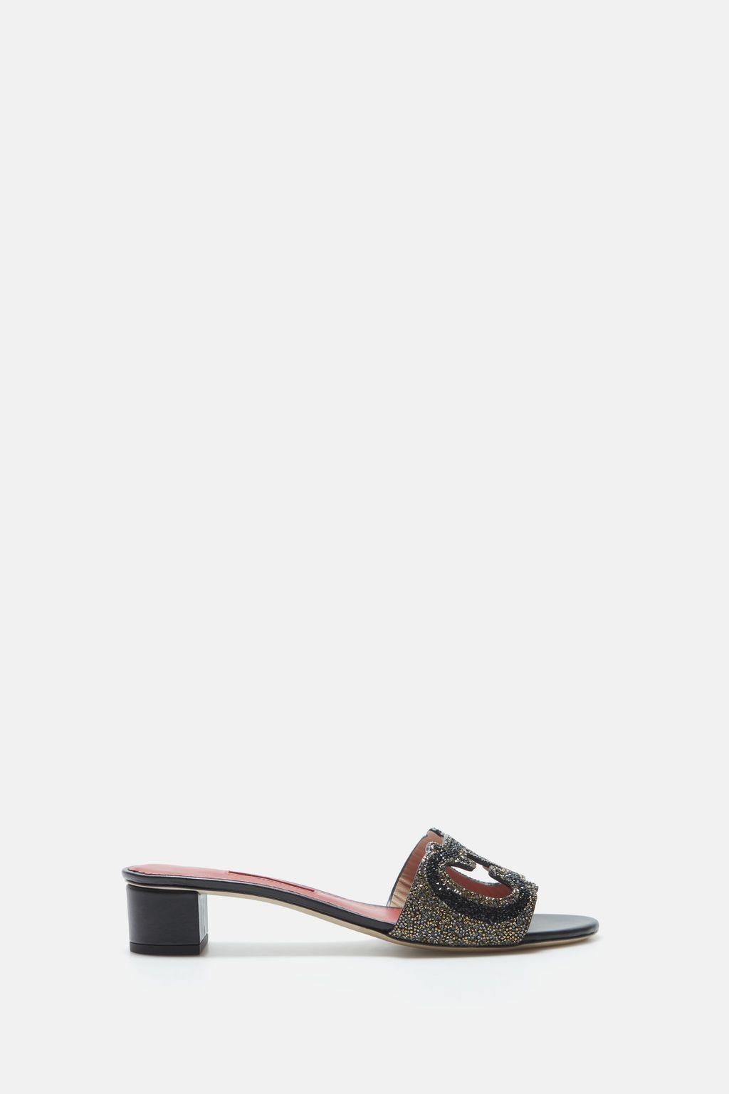 Initials Insignia cutout Napa leather sandals
