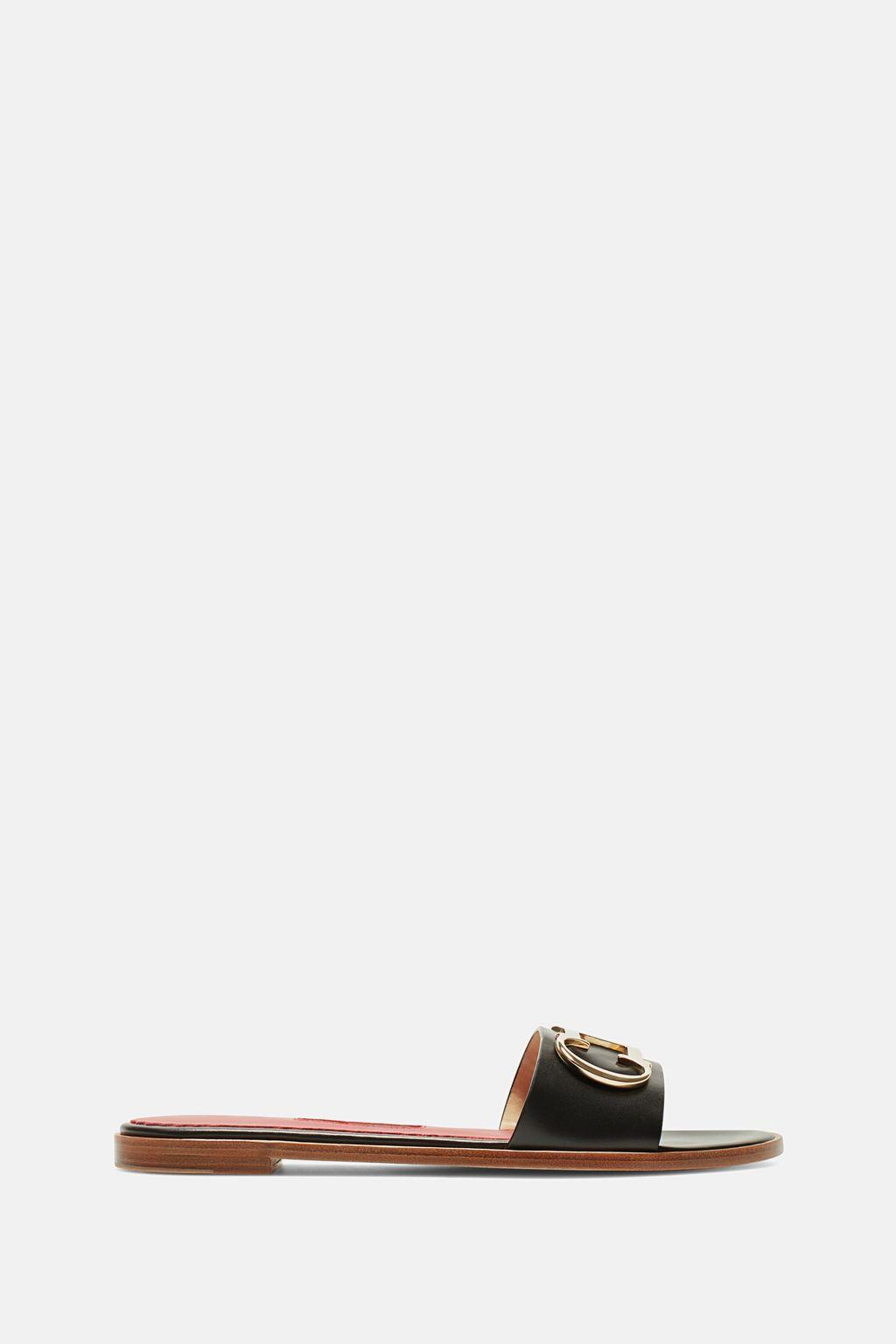 Initials Insignia leather slides