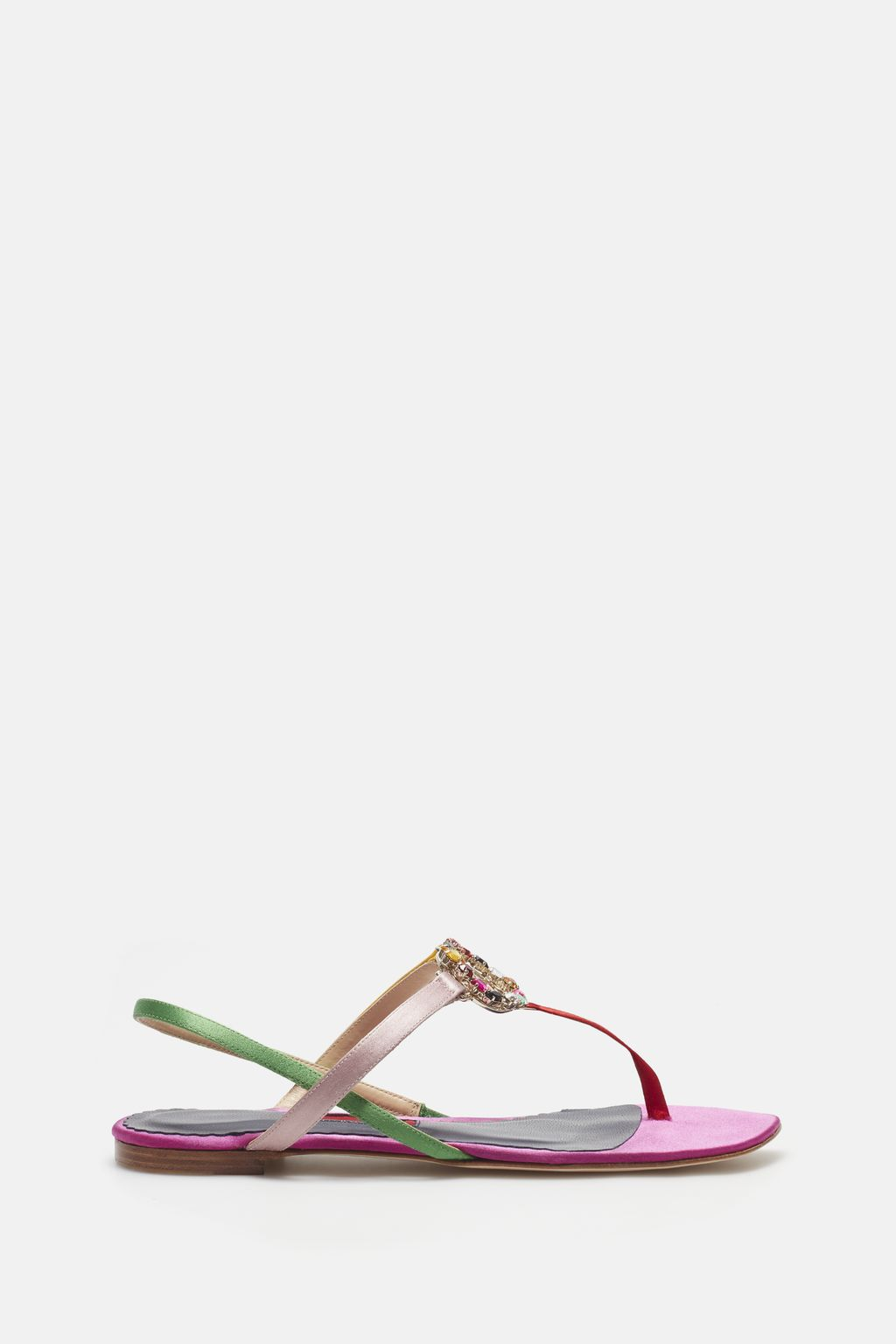 Satin sandals with jewel