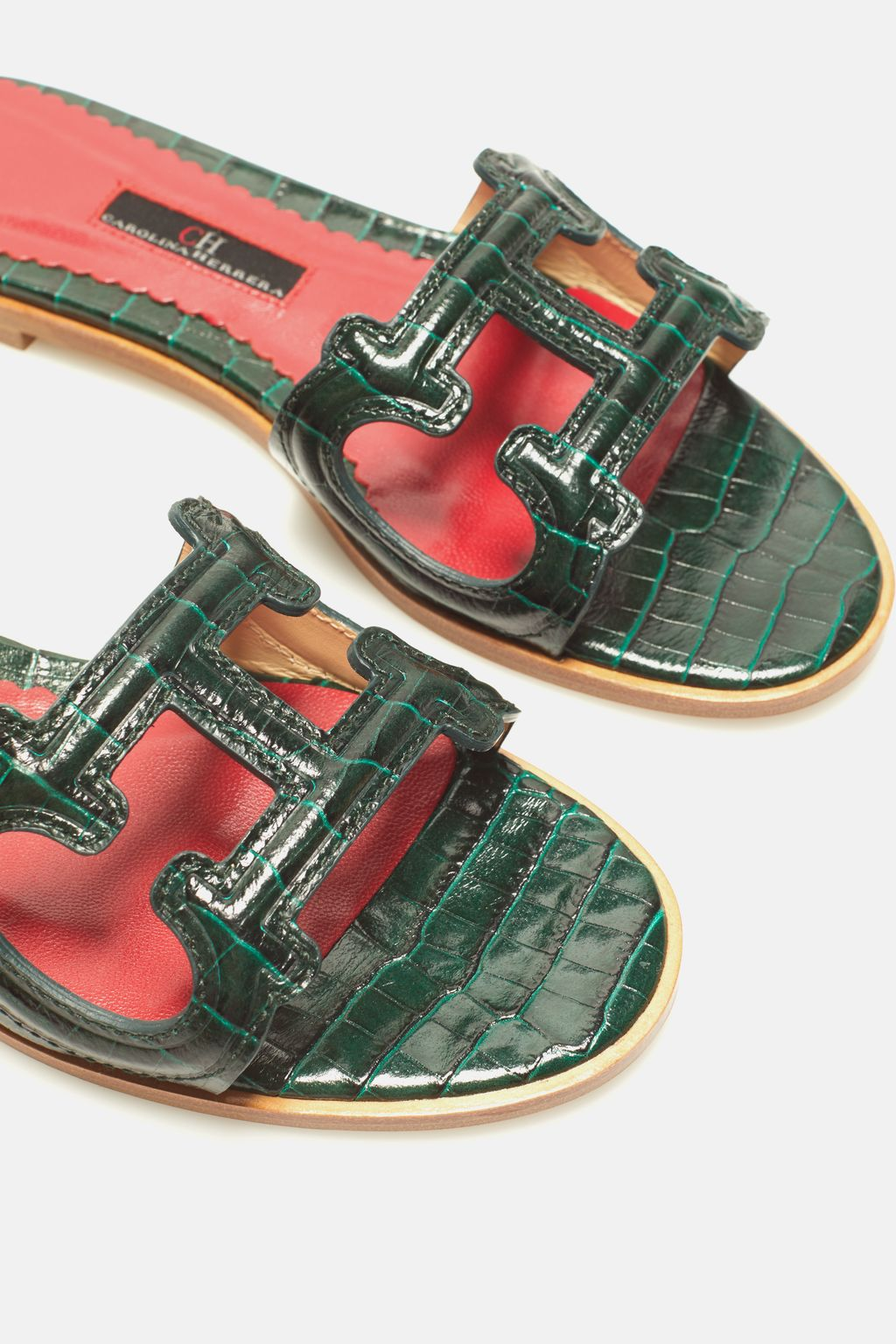 Initials Insignia cutout croc-effect leather slides