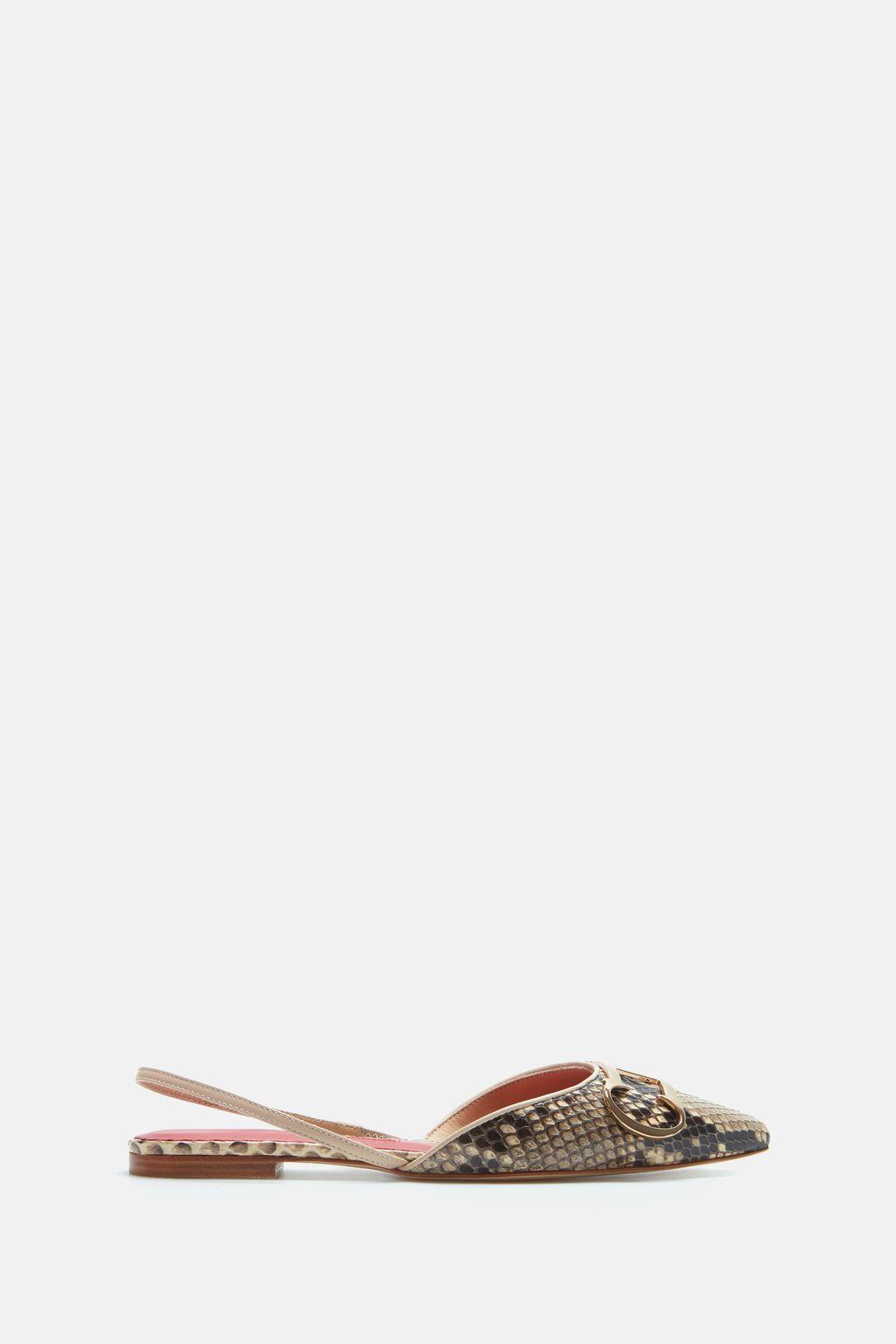 Initials Insignia python slingback flats