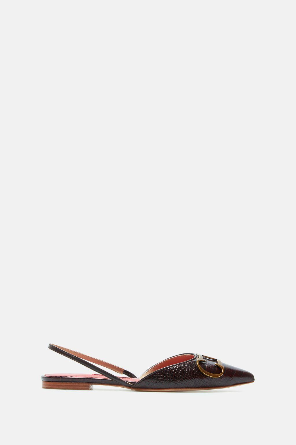 Initials Insignia croc-effect slingback flats