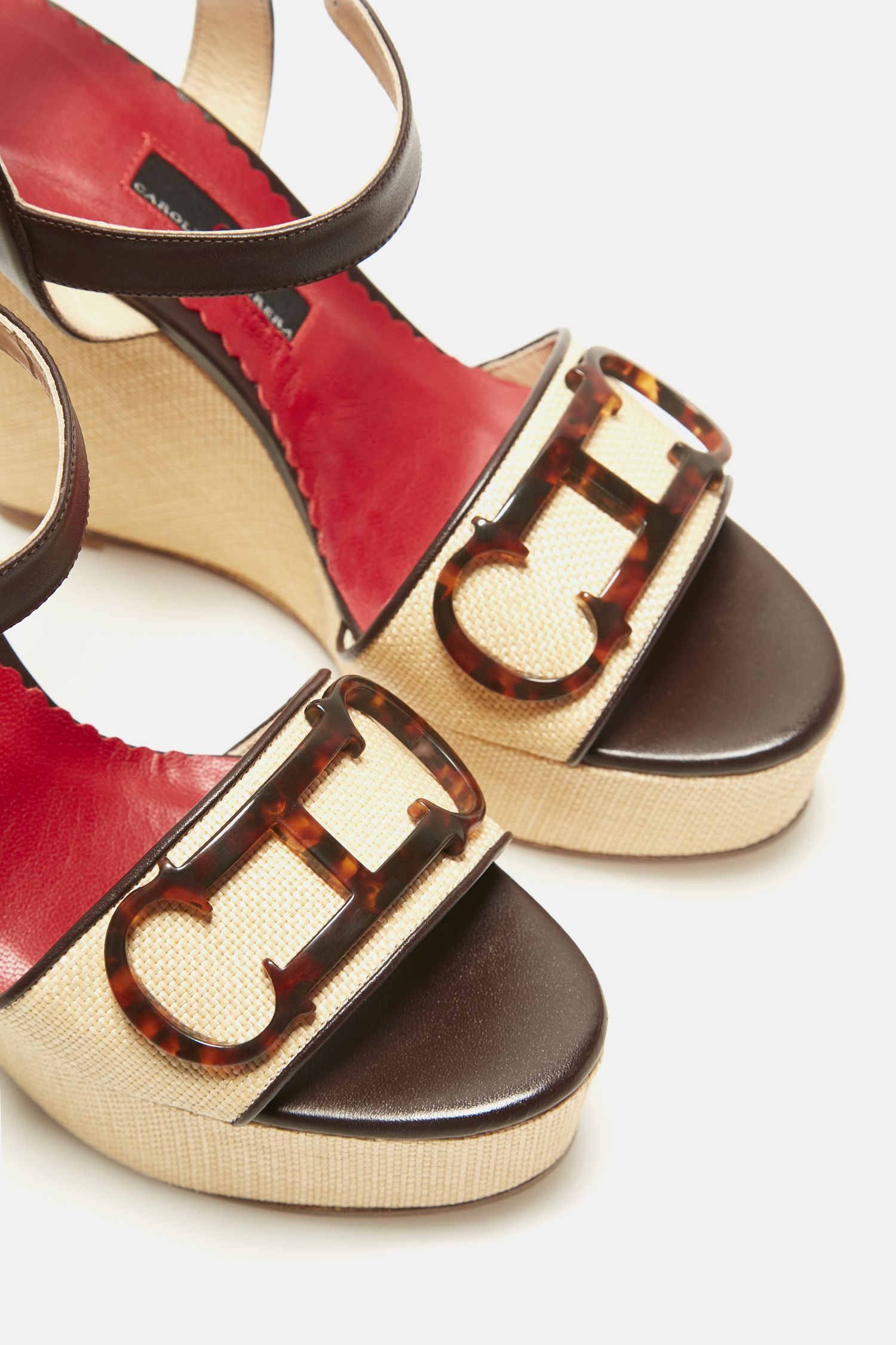 Initials Insignia leather and raffia wedges