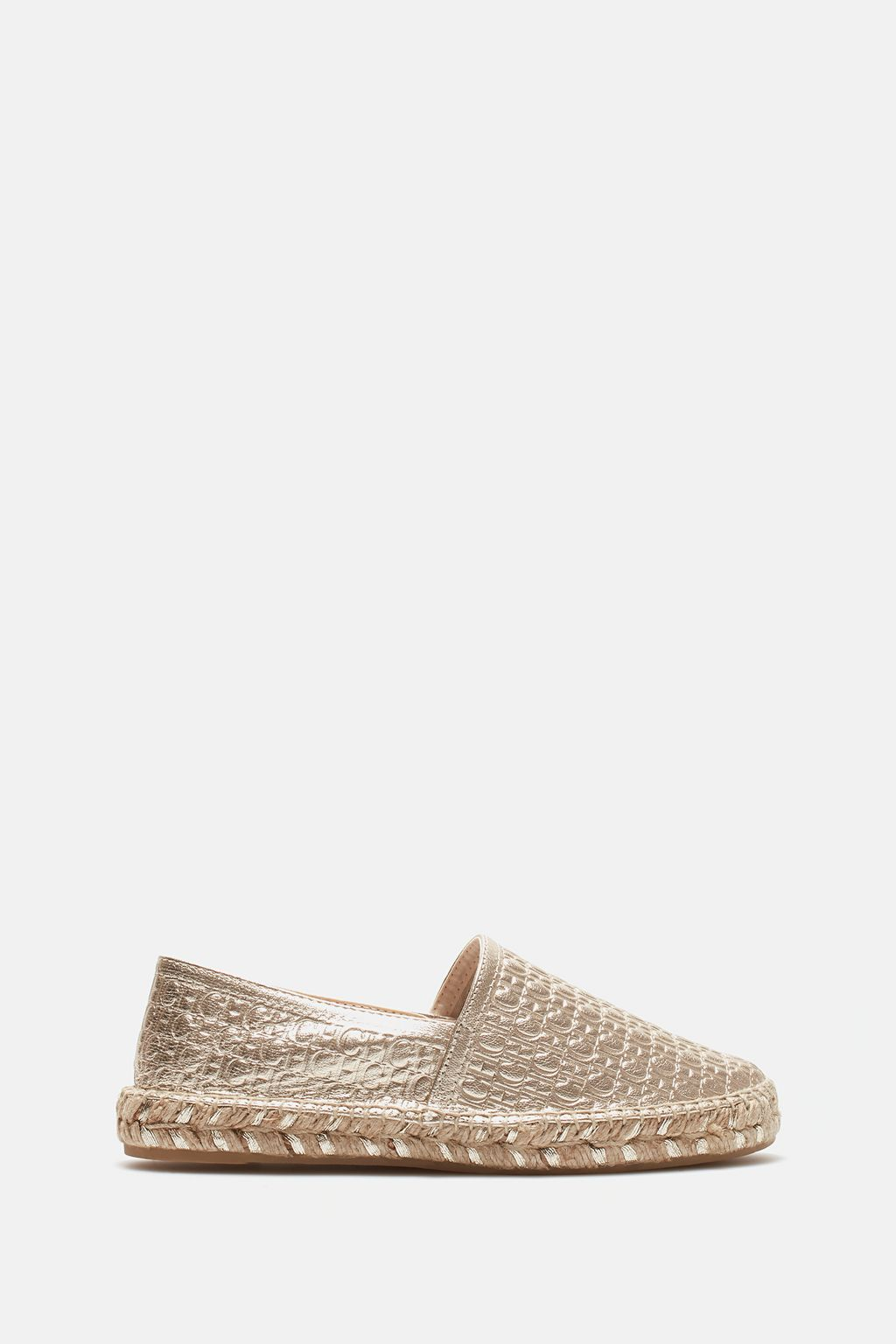 CH-embossed leather espadrilles