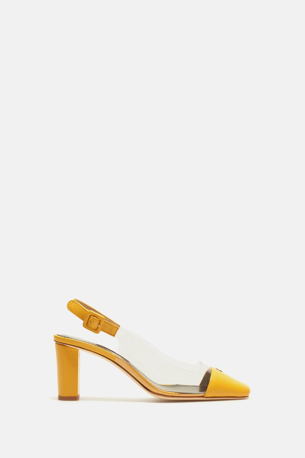 Vinyl and leather slingback pumps
