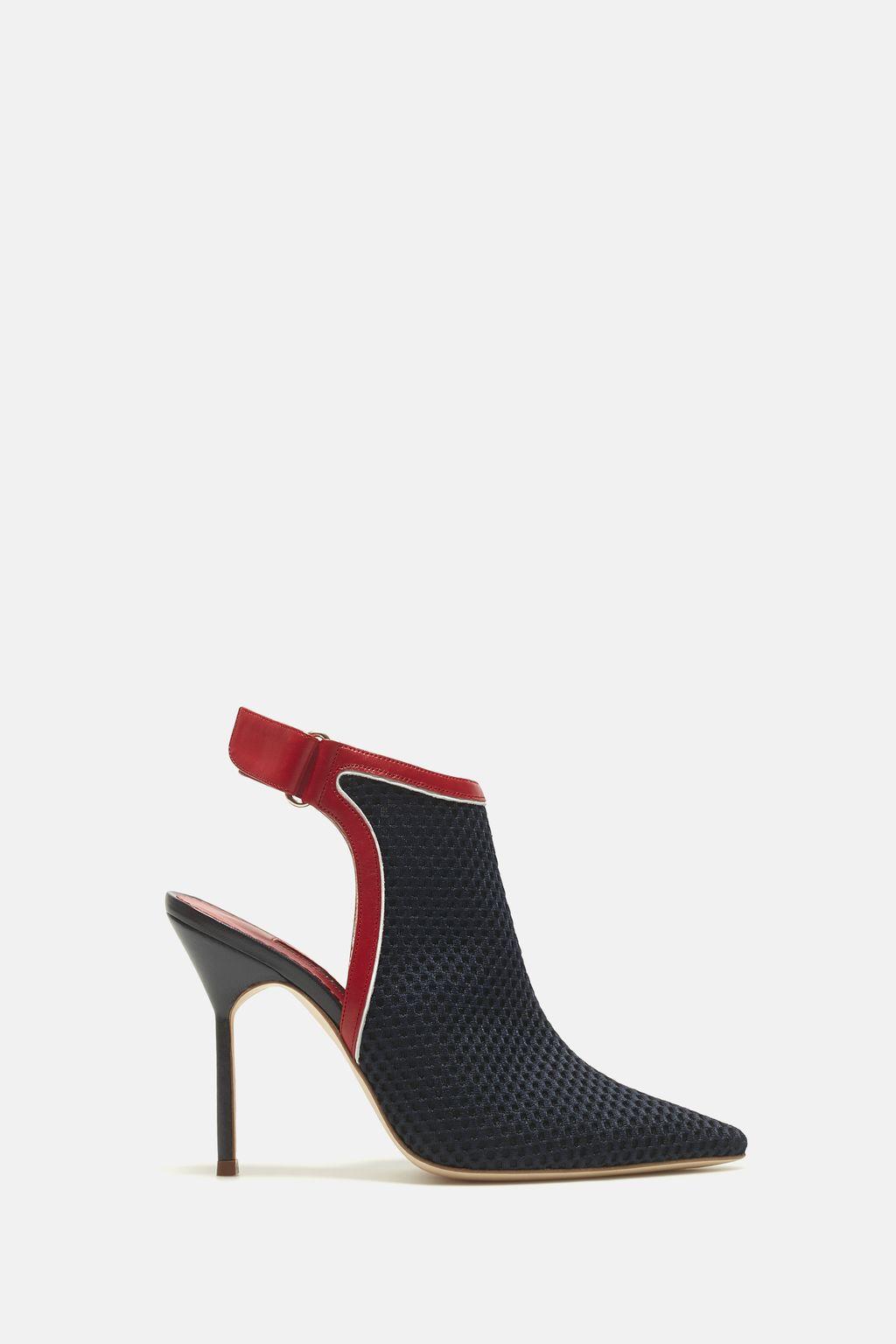Neoprene mesh slingback ankle boots